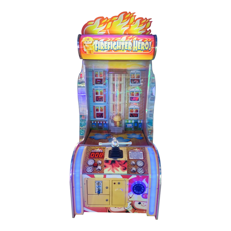 Coin Operated Small Firefighters Kids Shooting Video Game Machine