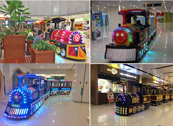 The Battery Train is suitable to set up in the mall which running arcoss the walking road.